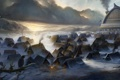 Картинка холод, лед, снег, тучи, озеро, дым, дома