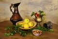 Картинка листья, яблоки, посуда, орехи, натюрморт, leaves, nuts