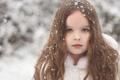 Картинка взгляд, снег, волосы, портрет, девочка