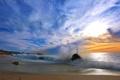Картинка песок, море, небо, облака, берег, волна, прибой