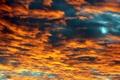 Картинка небо, облака, закат, оранжевый, синий