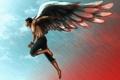 Картинка полет, ангел, парень, арт, крылья, цепи