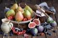 Картинка рябина, осень, груши, мед, натюрморт, ягоды, черника