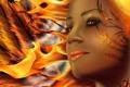 Картинка глаза, взгляд, девушка, лицо, фантастика, огонь, узор