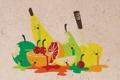 Картинка бумага, убийство, арт, фрукты, fun