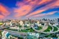 Картинка небо, облака, дороги, дома, панорама, Таиланд, зарево