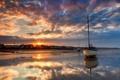 Картинка песок, дома, мель, корабли, парусники, вечер, море