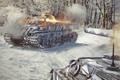 Картинка снег, выстрел, танк, танки, WoT, Мир танков, tank