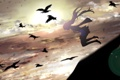 Картинка небо, облака, закат, птицы, девочка, Hatsune Miku