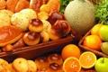 Картинка яблоки, апельсины, сдоба, выпечка, булочки