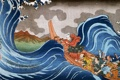 Картинка лодка, волна, гора, картина, иероглифы, живопись, азиаты