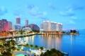 Картинка город, побережье, дома, яхты, Майами, небоскребы, лодки
