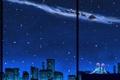 Картинка снег, ночь, город, новый год, рождество, аниме, мальчик
