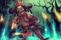 Картинка перья, воин, маска, арт, нож, когти, факелы