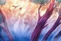 Картинка лес, деревья, птицы, листва, арт