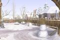 Картинка зима, снег, деревья, природа, дом, рисунок, забор