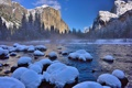 Картинка зима, лес, снег, горы, река, сша, Национальный парк Йосемити