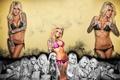 Картинка девушка, фон, фигура, блондинка, ножки, татуировки, tattoo