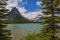 Картинка США, лес, скалы, Glacier, озеро, Montana, деревья