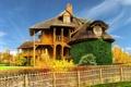 Картинка небо, трава, деревья, дом, забор, Франция, Город