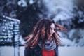 Картинка зима, девушка, снег, волосы