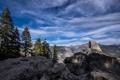 Картинка облака, горы, небо, скалы, деревья