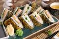 Картинка чай, рис, суши, васаби, начинка, имбирь