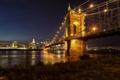 Картинка ночь, мост, город, огни, река, небоскребы, освещение