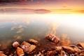 Картинка закат, камни, море