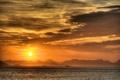 Картинка море, вода, облака, закат, горы, корабли