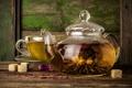 Картинка стекло, цветы, чай, чайник, чашка, сахар, заварка