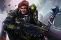 Картинка усы, пистолет, воин, берет, art, командир, Warhammer 40K