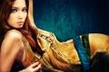 Картинка взгляд, девушка, платье, пирсинг, рыжеволосая