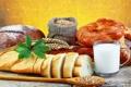 Картинка еда, молоко, хлеб, злаки