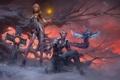 Картинка девушка, снег, закат, дерево, магия, эльф, монстр