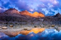 Картинка закат, горы, отражение, небо, озеро