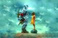 Картинка робот, девочка, подарки