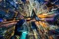 Картинка город, свет, небоскрёбы, огни