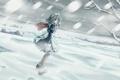 Картинка холод, зима, девушка, снег, природа, ветви, арт