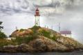 Картинка пейзаж, маяк, гора, HDR