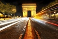 Картинка дорога, свет, машины, ночь, огни, люди, города