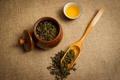Картинка листья, чай, напиток, лопатка, пиала, зелёный чай