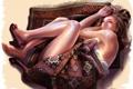 Картинка девушка, узор, ковёр, арт, туфли, бахрома, aalge