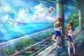 Картинка рельсы, девушки, железнодорожная станция, птицы, море