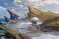 Картинка Bastien Grivet, космос, фантастика, небо, sci-fi, исследования, скалы