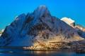 Картинка зима, снег, горы, природа, река, дома