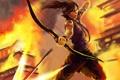 Картинка девушка, оружие, прыжок, лук, арт, стреляет, Lara Croft
