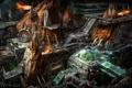 Картинка космос, город, скалы, огонь, корабль, станция, Starcraft 2