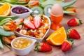 Картинка яйцо, апельсин, завтрак, киви, клубника, фрукты, джем