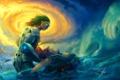 Картинка море, волны, девушка, птицы, самолет, робот, арт